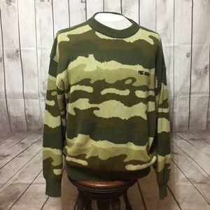 Phat Farm Knit Camo Sweater Mens XXL 2XL Logo
